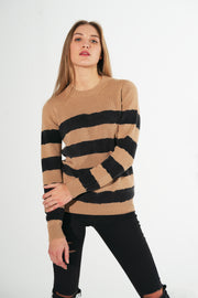 Cashmere sweater with stripe motif