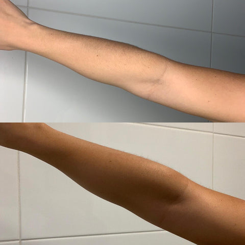 A Before and After of Spray Aus fake tan