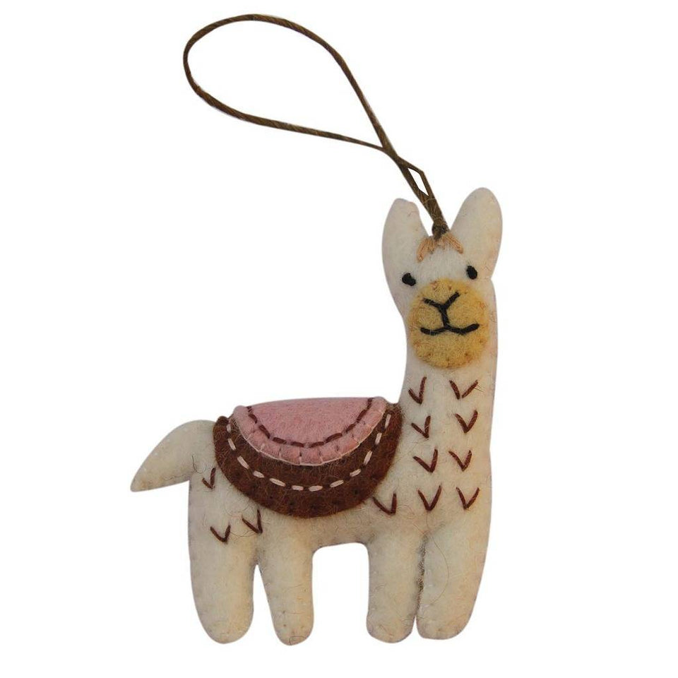 White Felt Llama Ornament - Global Groove (H)