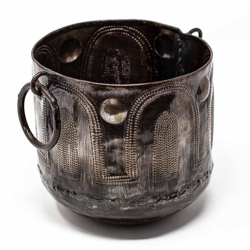 Hammered Metal Container with Round Handles - Croix des Bouquets