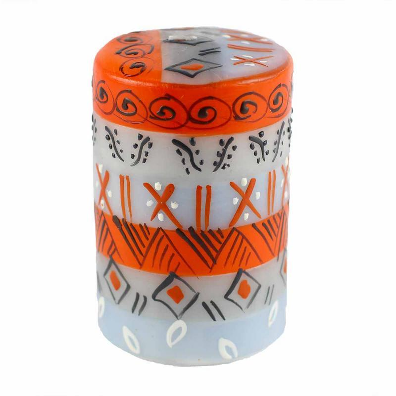 Hand Painted Candles in Kukomo Design (pillar) - Nobunto