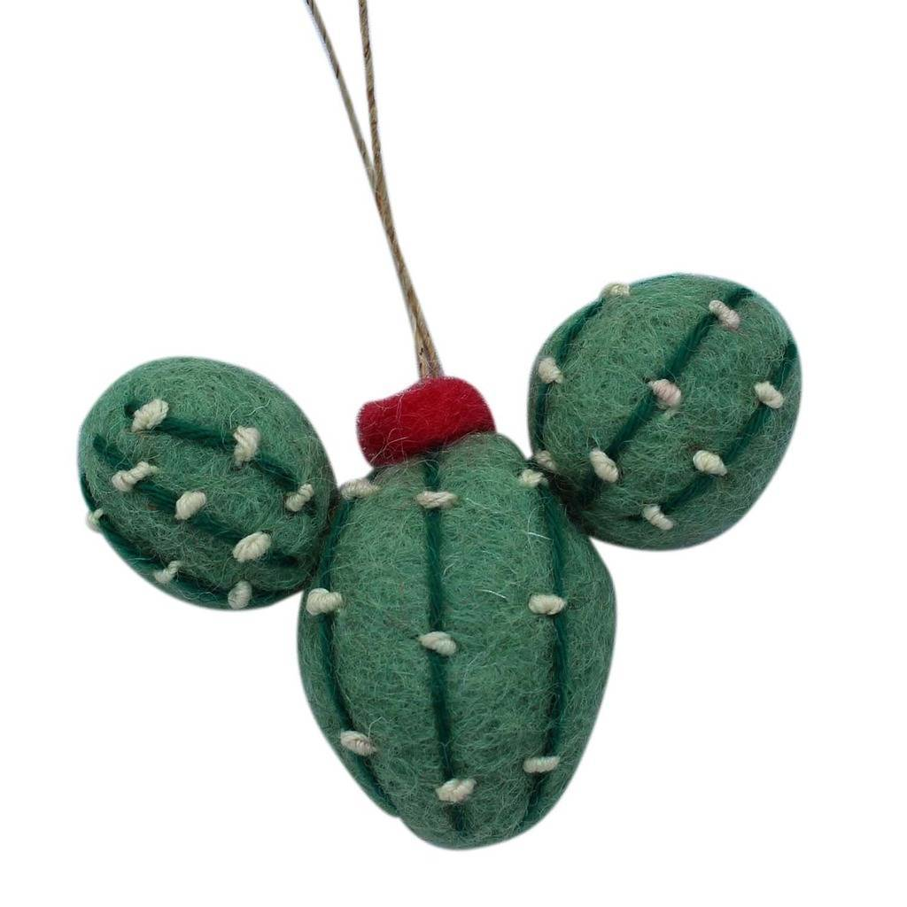 Cactus Felt Ornament with Flower - Global Groove (H)