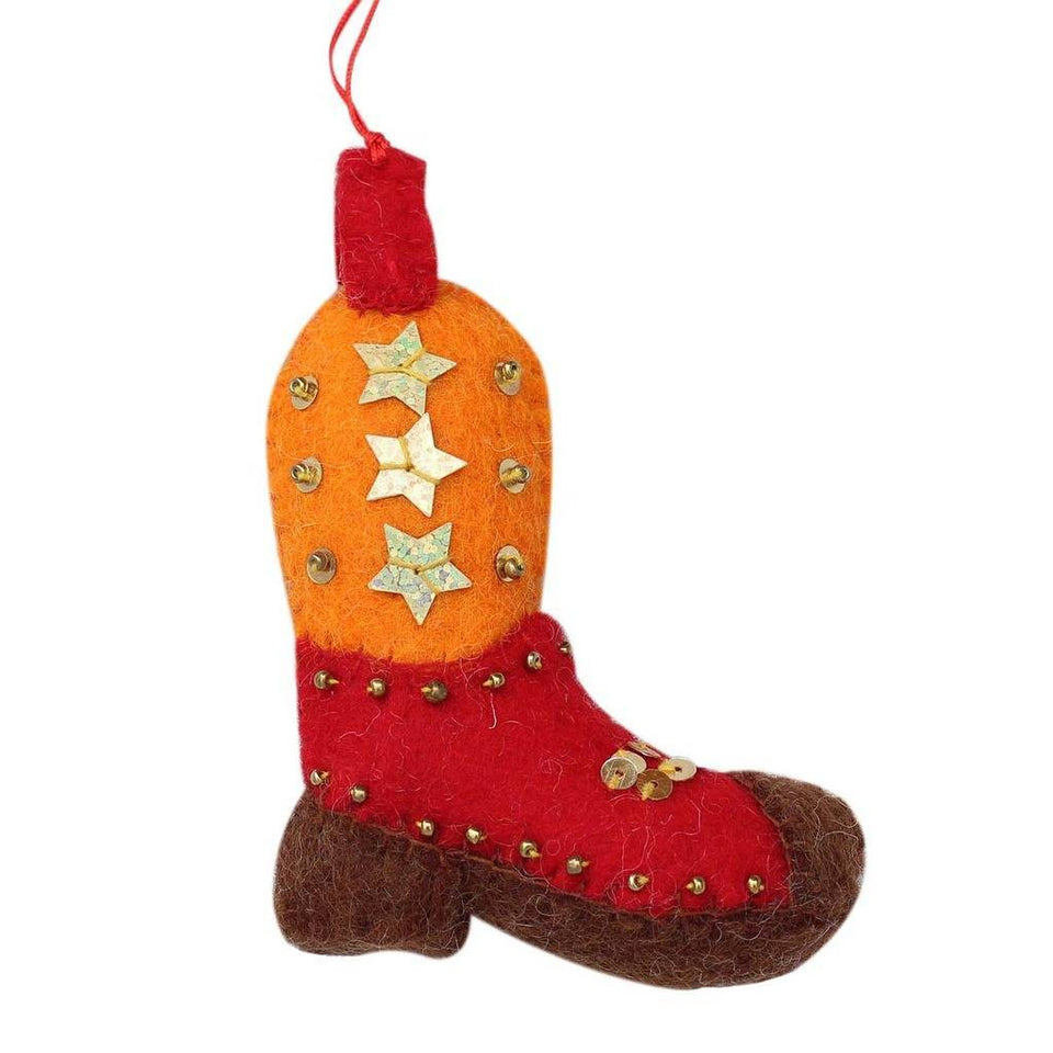 Cowboy Boot Felt Ornament - Global Groove (H)