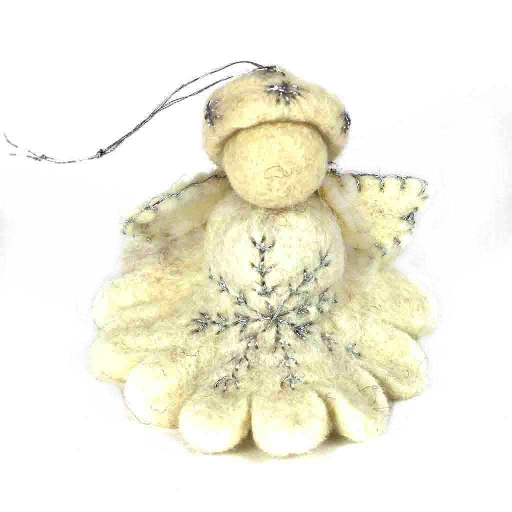 White Angel Felt Ornament - Global Groove (H)