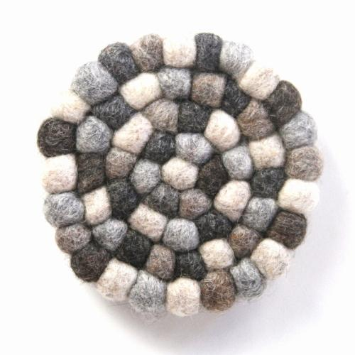 Hand Crafted Felt Ball Trivets from Nepal: Round, Greys - Global Groove (T)