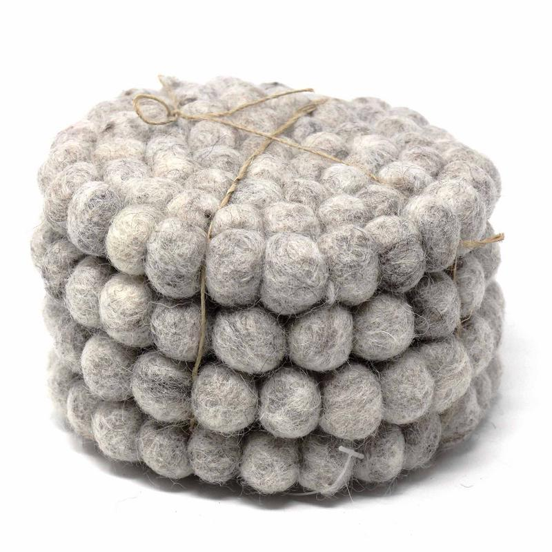 Hand Crafted Felt Ball Coasters from Nepal: 4-pack, Light Grey - Global Groove (T)