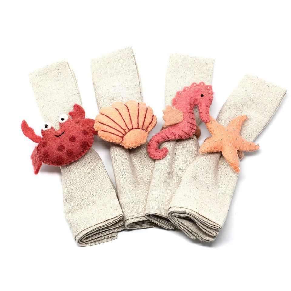 Hand-felted Seashore Napkin Rings, Set of Four Designs - Global Groove (T)