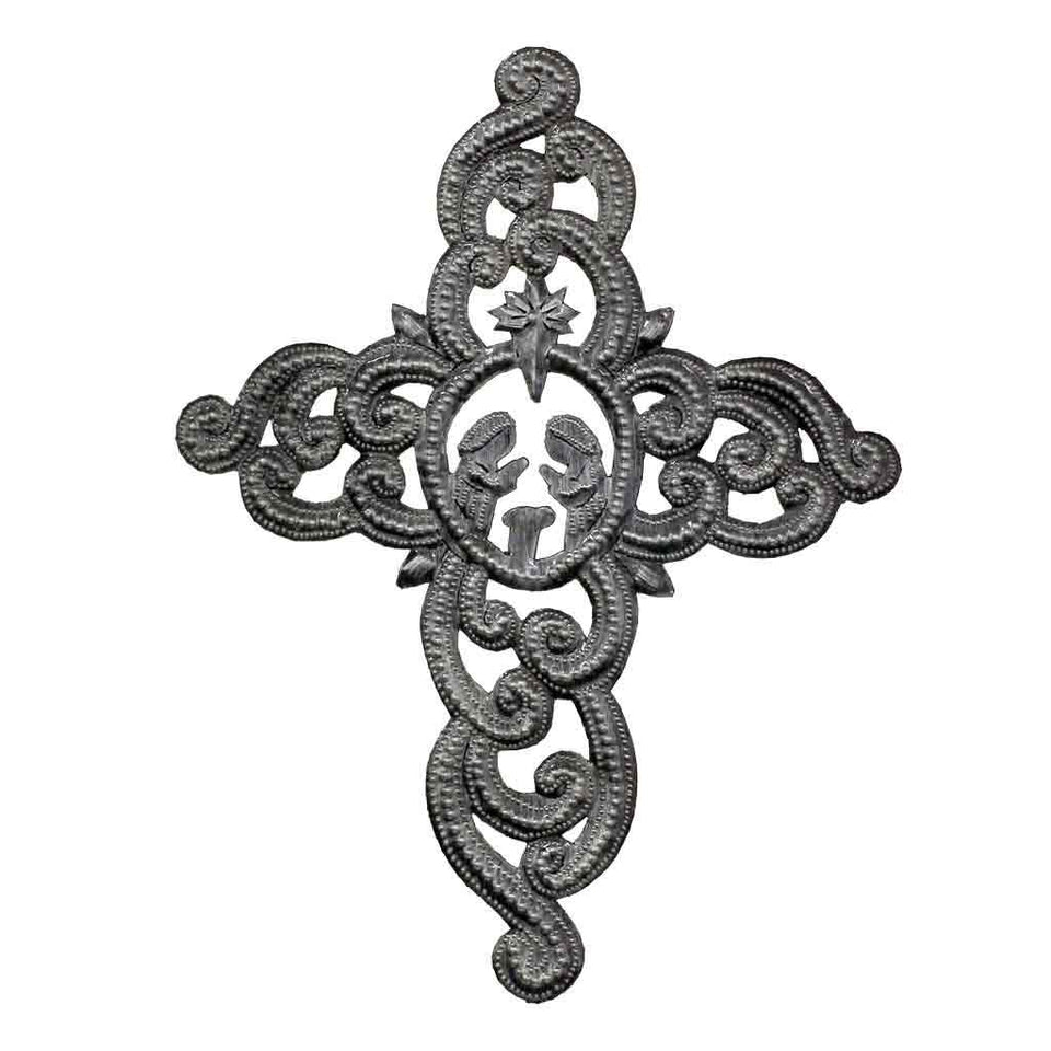 "Metal Cross Wall Art, Ornate with Nativity Scene (9.5"" x 12"") - Croix des Bouquets (H)"