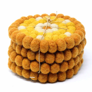 Hand Crafted Felt Ball Coasters from Nepal: 4-pack, Flower Golds - Global Groove (T)