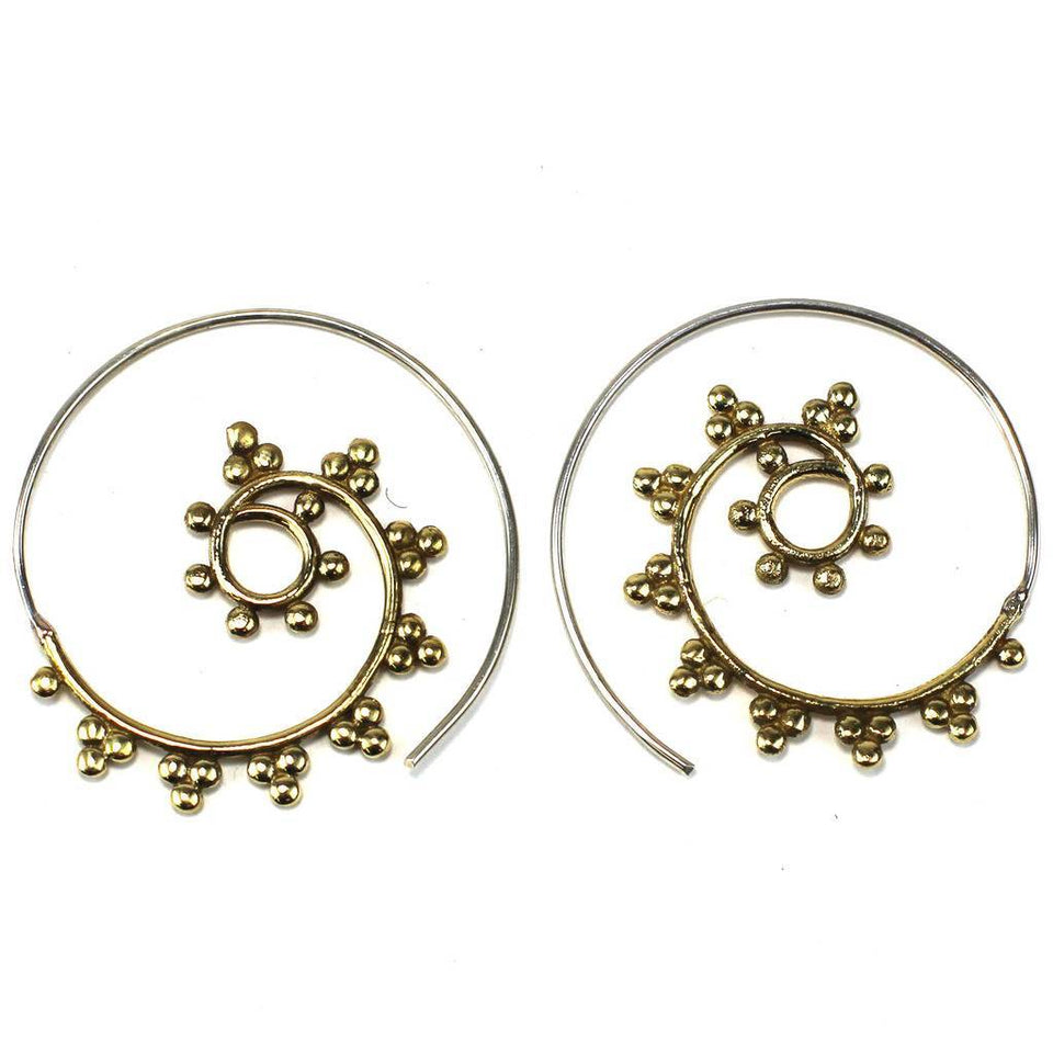 Brass Galactic Design Spiral Earrings - DZI (J)