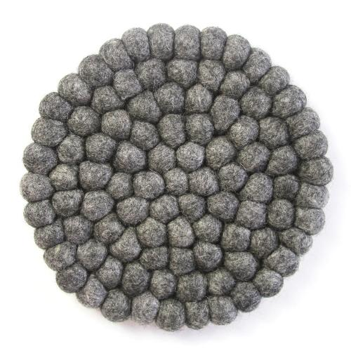 Hand Crafted Felt Ball Trivets from Nepal: Round, Dark Grey - Global Groove (T)