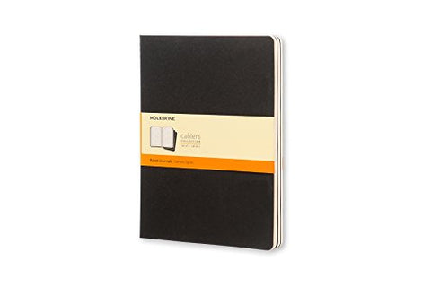 MOLESKINE CAHIER NOTEBOOKS - BLACK SOFT COVER - RULED - Extra Large