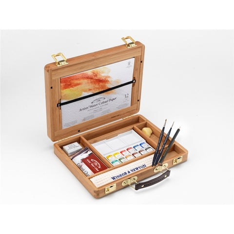 WINSOR & NEWTON PROFESSIONAL WATERCOLOUR BAMBOO BOX - Half Pans