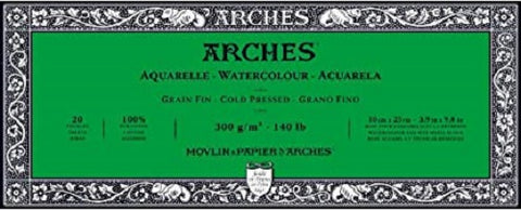 ARCHES AQUARELLE WATERCOLOUR BLOCK  300gsm/140lb -10 x 25cm - Cold Pressed