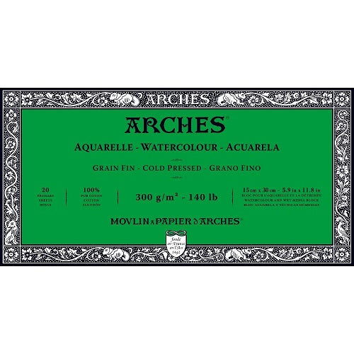 ARCHES AQUARELLE WATERCOLOUR BLOCK  300gsm/140lb -15 x 30cm - Cold Pressed