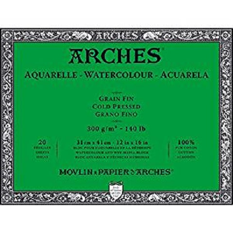 ARCHES AQUARELLE WATERCOLOUR BLOCK  300gsm/140lb -31 x 41cm - Cold Pressed