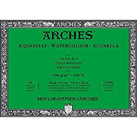 ARCHES AQUARELLE WATERCOLOUR BLOCK  300gsm/140lb -36 x 51cm - Cold Pressed