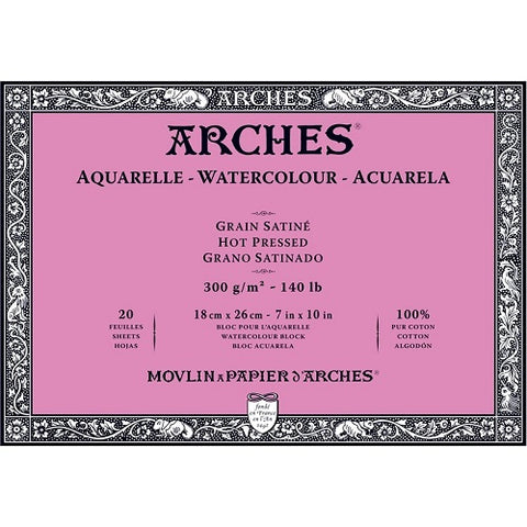 ARCHES AQUARELLE WATERCOLOUR BLOCK  300gsm/140lb -18 x 26cm - Hot Pressed