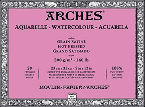 ARCHES AQUARELLE WATERCOLOUR BLOCK  300gsm/140lb -23 x 31cm - Hot Pressed