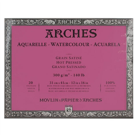 ARCHES AQUARELLE WATERCOLOUR BLOCK  300gsm/140lb -31 x 41cm - Hot Pressed
