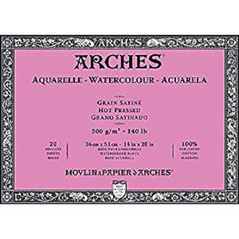 ARCHES AQUARELLE WATERCOLOUR BLOCK  300gsm/140lb -36 x 51cm - Hot Pressed