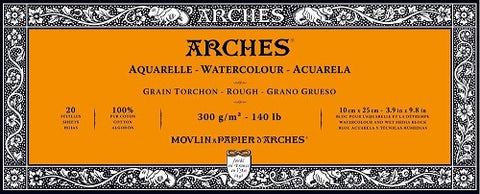 ARCHES AQUARELLE WATERCOLOUR BLOCK  300gsm/140lb -10 x 25cm - Rough