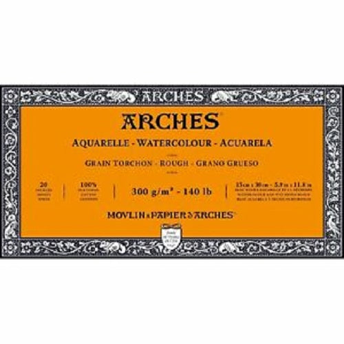 ARCHES AQUARELLE WATERCOLOUR BLOCK  300gsm/140lb -15 x 30cm - Rough