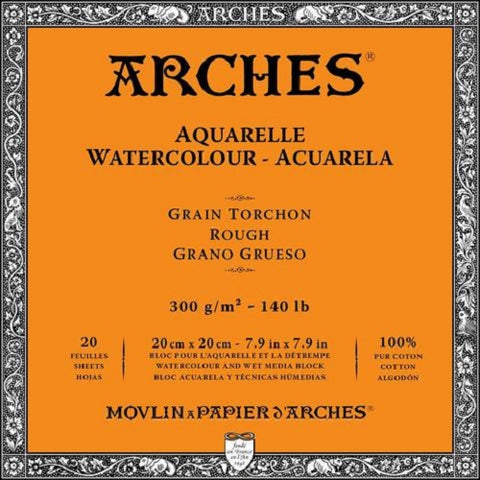 ARCHES AQUARELLE WATERCOLOUR BLOCK  300gsm/140lb -20 x 20cm - Rough