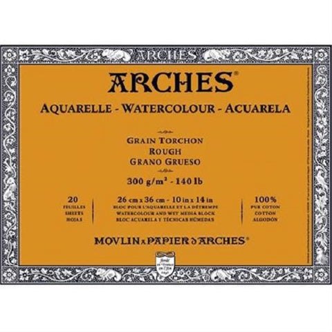 ARCHES AQUARELLE WATERCOLOUR BLOCK  300gsm/140lb -26 x 36cm - Rough