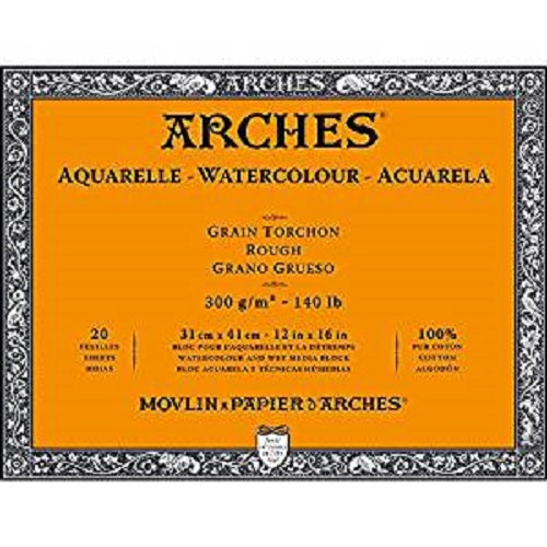 ARCHES AQUARELLE WATERCOLOUR BLOCK  300gsm/140lb -31 x 41cm - Rough