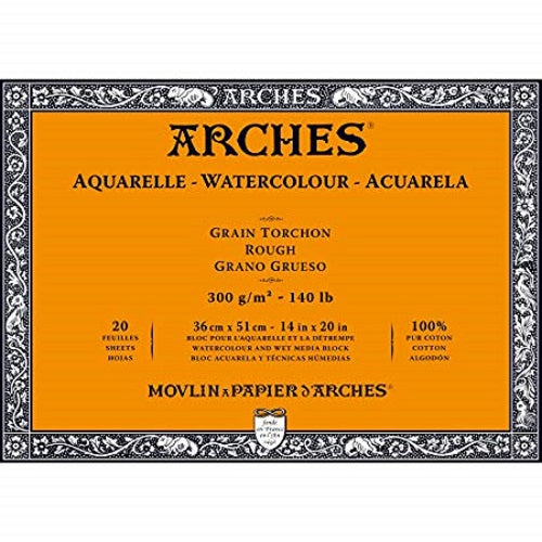 ARCHES AQUARELLE WATERCOLOUR BLOCK  300gsm/140lb -36 x 51cm - Rough