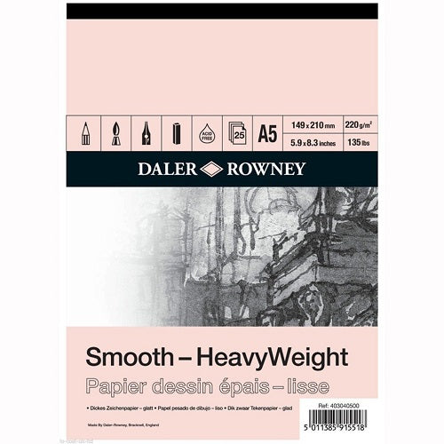 Daler Rowney Smooth Heavyweight Cartridge Paper Pad - 220 gsm - A5
