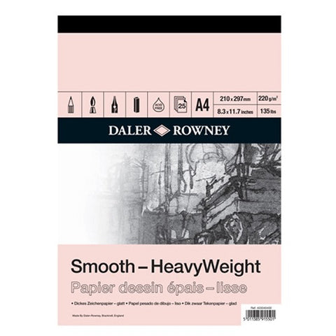 DALER ROWNEY SMOOTH HEAVYWEIGHT CARTRIDGE PAPER PAD - 220 gsm - A4