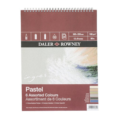 "Daler Rowney Ingres Pastel Pad - Assorted Colours - 12"" x 9"""