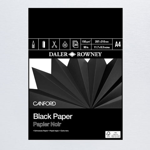 DALER ROWNEY CANFORD BLACK PAPER PAD - A4