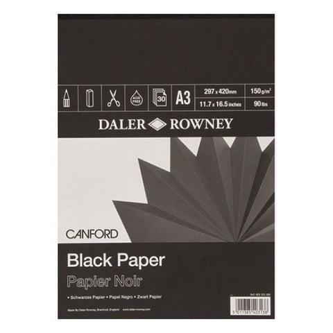DALER ROWNEY CANFORD BLACK PAPER PAD - A3