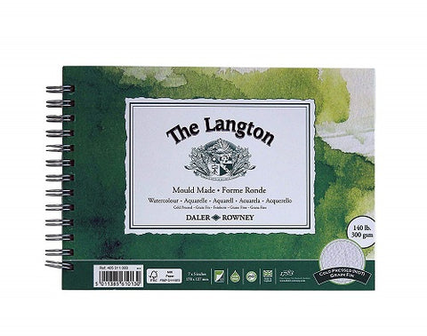"DALER ROWNEY LANGTON WATERCOLOUR COLD PRESSED SPIRAL PAD - 7"" X 5"""