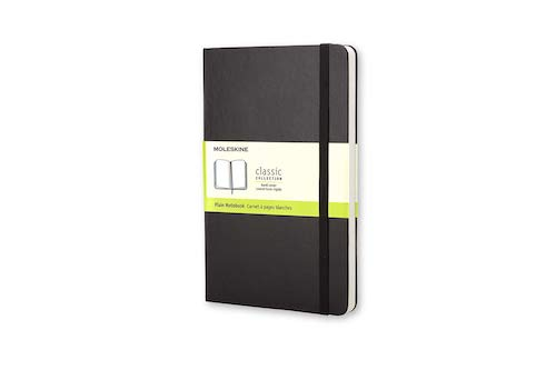 MOLESKINE NOTEBOOK - BLACK HARD COVER - PLAIN PAPER - Extra Large