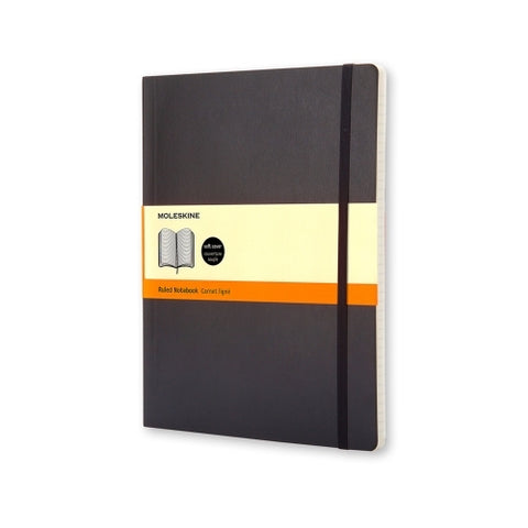 MOLESKINE NOTEBOOK - BLACK SOFT COVER - RULED - Extra Large