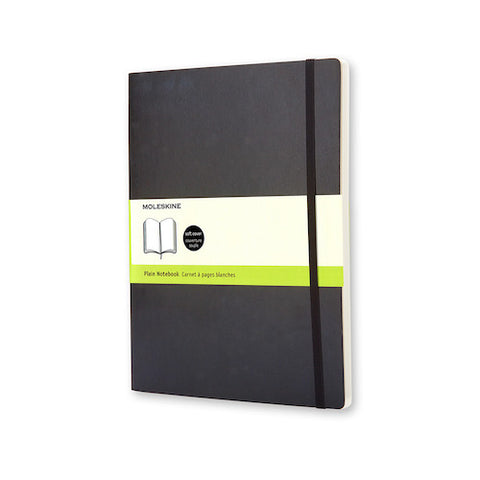MOLESKINE NOTEBOOK - BLACK SOFT COVER - PLAIN PAPER - Extra Large