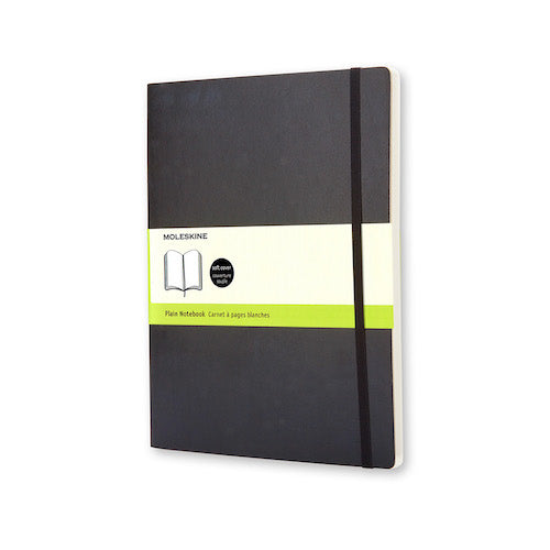 MOLESKINE NOTEBOOK - BLACK SOFT COVER - PLAIN PAPER - Pocket Size