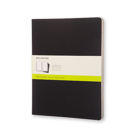 MOLESKINE THREE CAHIER NOTEBOOKS - BLACK SOFT COVER - PLAIN PAPER - Ex Large