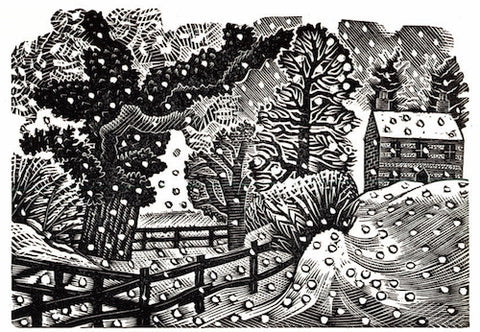 Canns Down Pack of 5 Charity Christmas Cards by Eric Ravilious - Considerable Falls Snow
