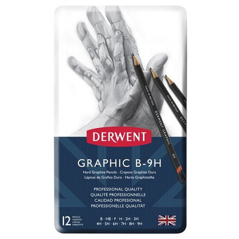DERWENT GRAPHIC PENCILS  - Tin of 12 Pencils - HARD (B-9H)
