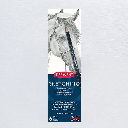 DERWENT SKETCHING PENCILS - Tin of 6 Pencils plus Sharpener