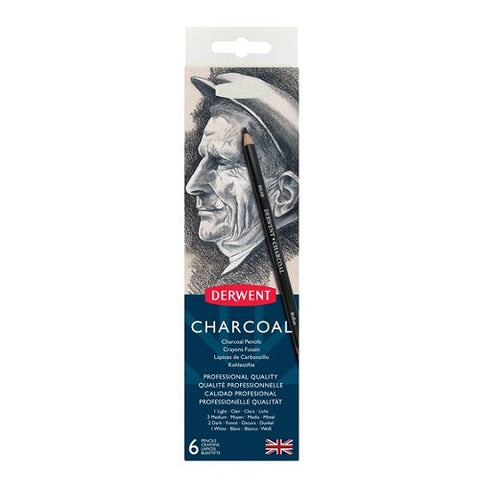 DERWENT CHARCOAL PENCILS - Tin of 6 Pencils + Sharpener
