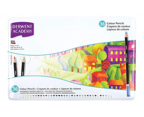 DERWENT  ACADEMY COLOUR PENCILS  SET OF 36