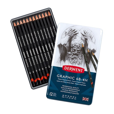 DERWENT GRAPHIC PENCILS- Tin of 12 Pencils- MEDIUM (6B-4H)