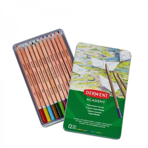 DERWENT  ACADEMY WATERCOLOUR PENCILS  SET OF 12