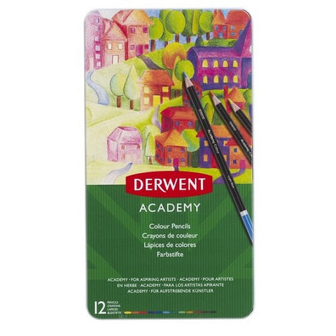 DERWENT  ACADEMY COLOUR PENCILS  SET OF 12